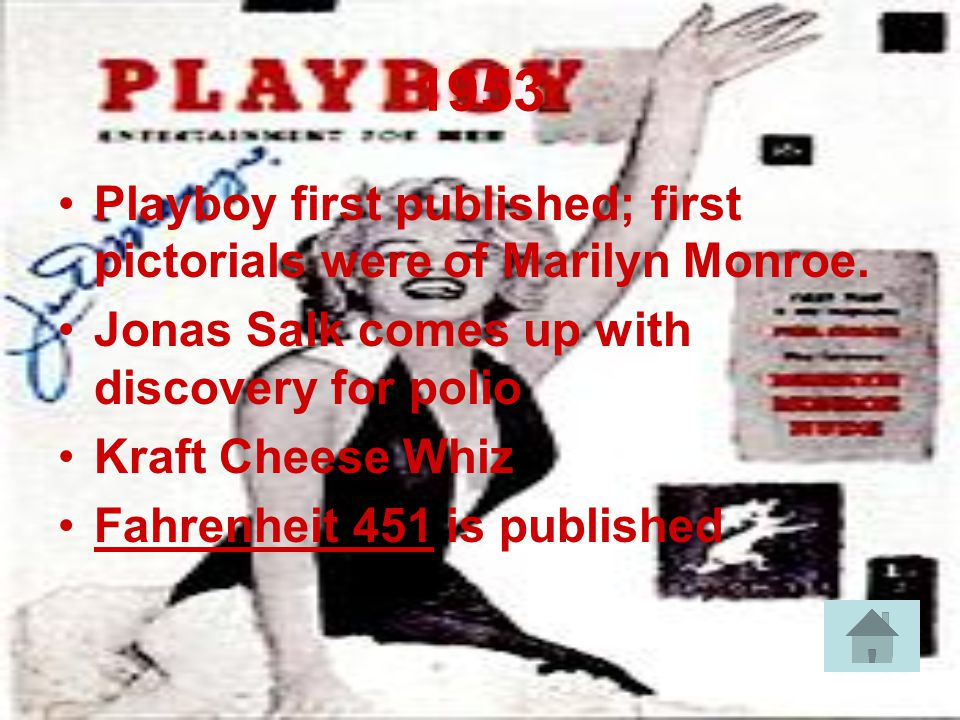 1953 Playboy first published; first pictorials were of Marilyn Monroe.
