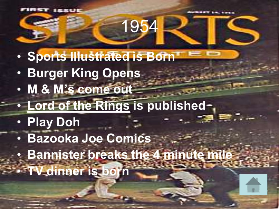 1954 Sports Illustrated is Born Burger King Opens M & Ms come out Lord of the Rings is published Play Doh Bazooka Joe Comics Bannister breaks the 4 minute mile TV dinner is born