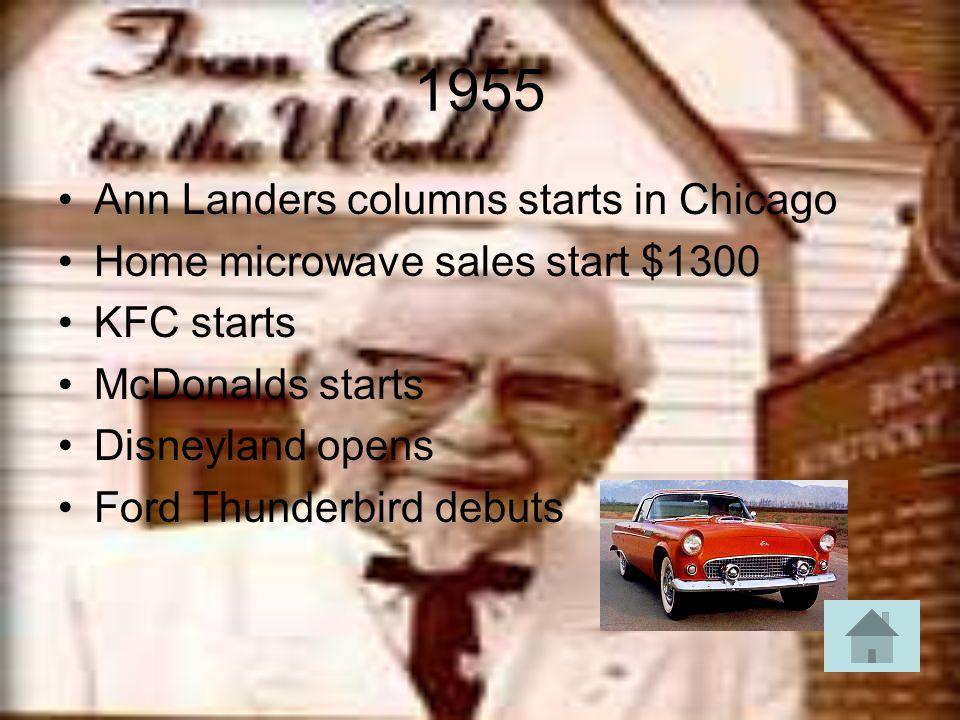 1955 Ann Landers columns starts in Chicago Home microwave sales start $1300 KFC starts McDonalds starts Disneyland opens Ford Thunderbird debuts