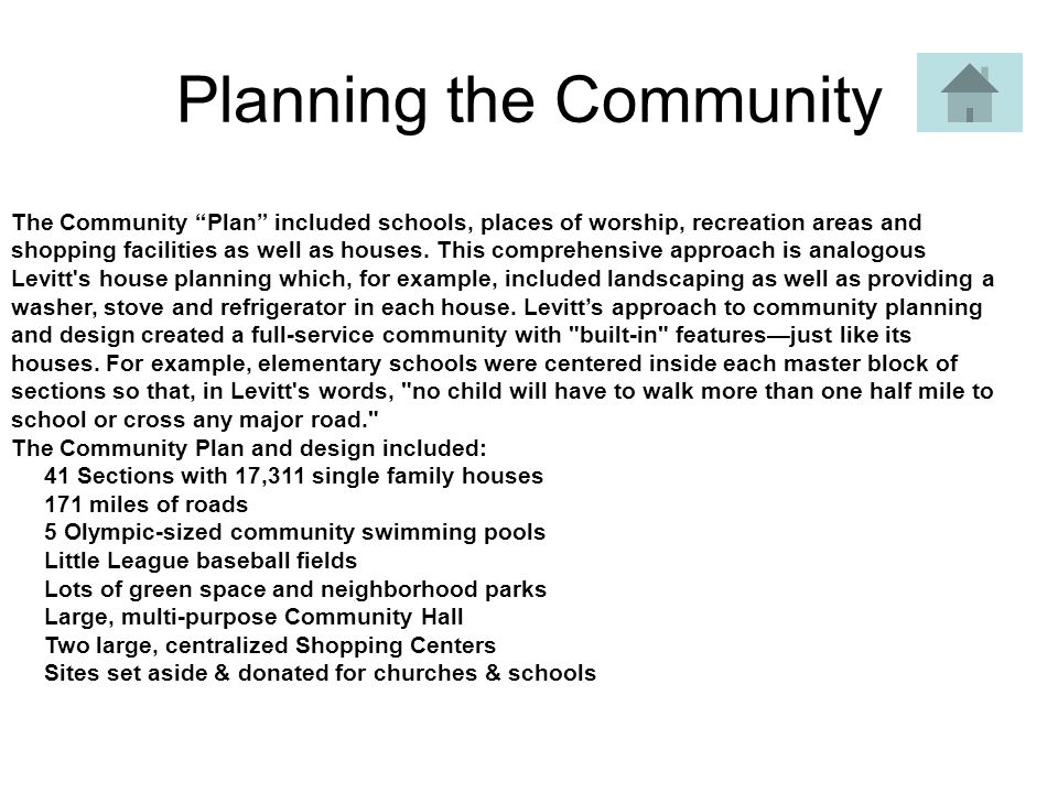Planning the Community The Community Plan included schools, places of worship, recreation areas and shopping facilities as well as houses.