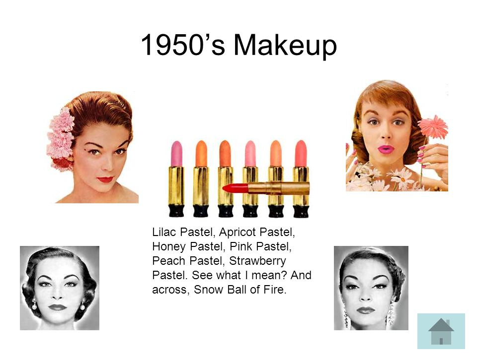 1950s Makeup Lilac Pastel, Apricot Pastel, Honey Pastel, Pink Pastel, Peach Pastel, Strawberry Pastel. See what I mean? And across, Snow Ball of Fire.