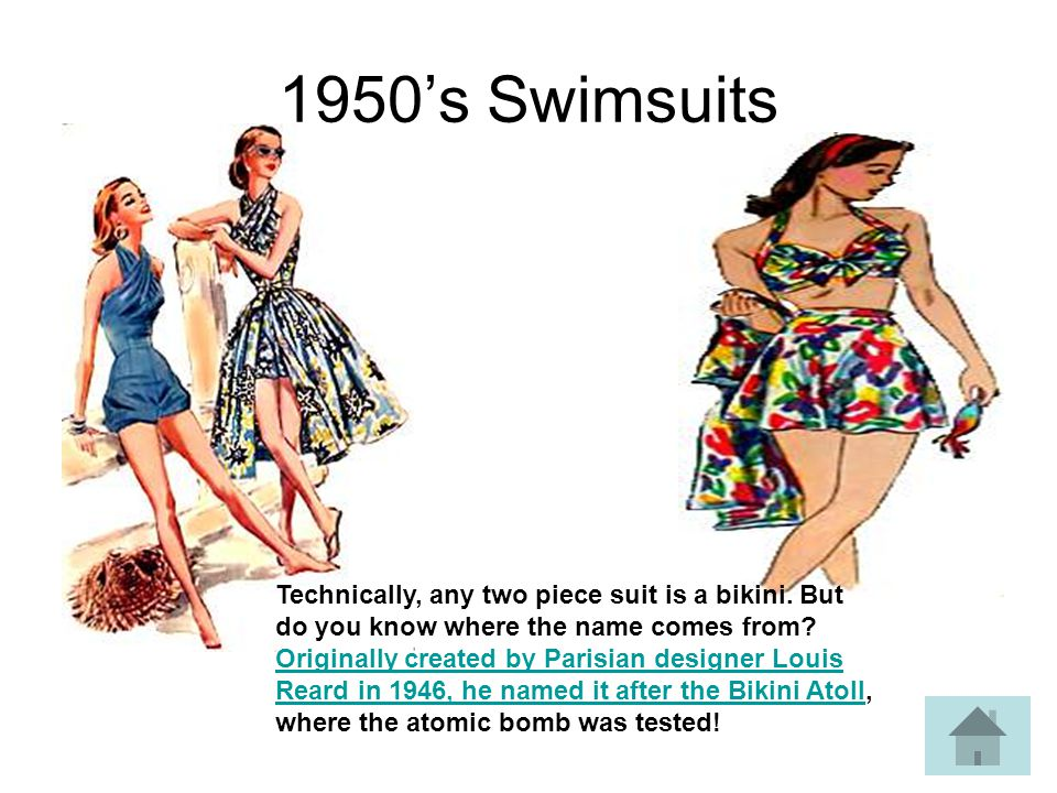 1950s Swimsuits Technically, any two piece suit is a bikini.