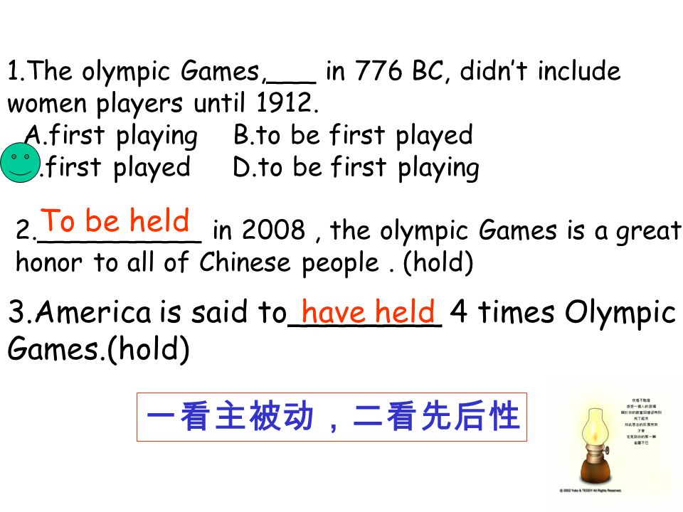 1.The olympic Games,___ in 776 BC, didnt include women players until 1912.