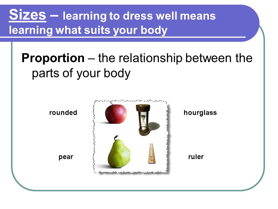 Sizes – learning to dress well means learning what suits your body Proportion – the relationship between the parts of your body rounded pear hourglass