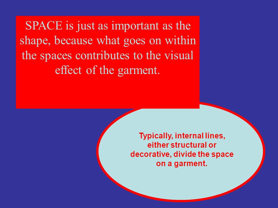 SPACE is just as important as the shape, because what goes on within the spaces contributes to the visual effect of the garment. Typically, internal l
