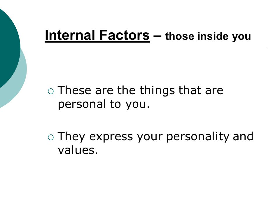 Internal Factors – those inside you These are the things that are personal to you. They express your personality and values.