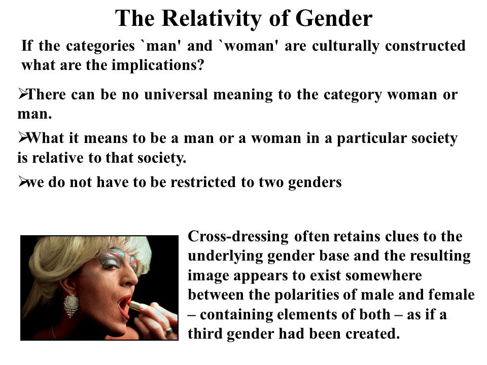 transsexual – gender/ sex incongruent, trapped in wrong body but with the gender identity of their organs/sex change operation transvestite – dressing as other gender, biological sex (cross-dresser) homosexual bisexual eunuch – castrated male hermaphrodite – both sets of biological organs Virgin.