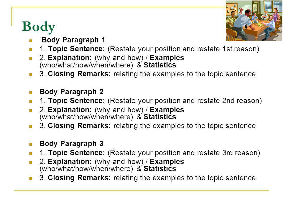 Body Body Paragraph 1 1. Topic Sentence: (Restate your position and restate 1st reason) 2.