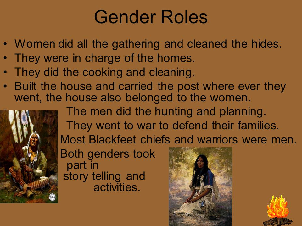 Gender Roles Women did all the gathering and cleaned the hides.