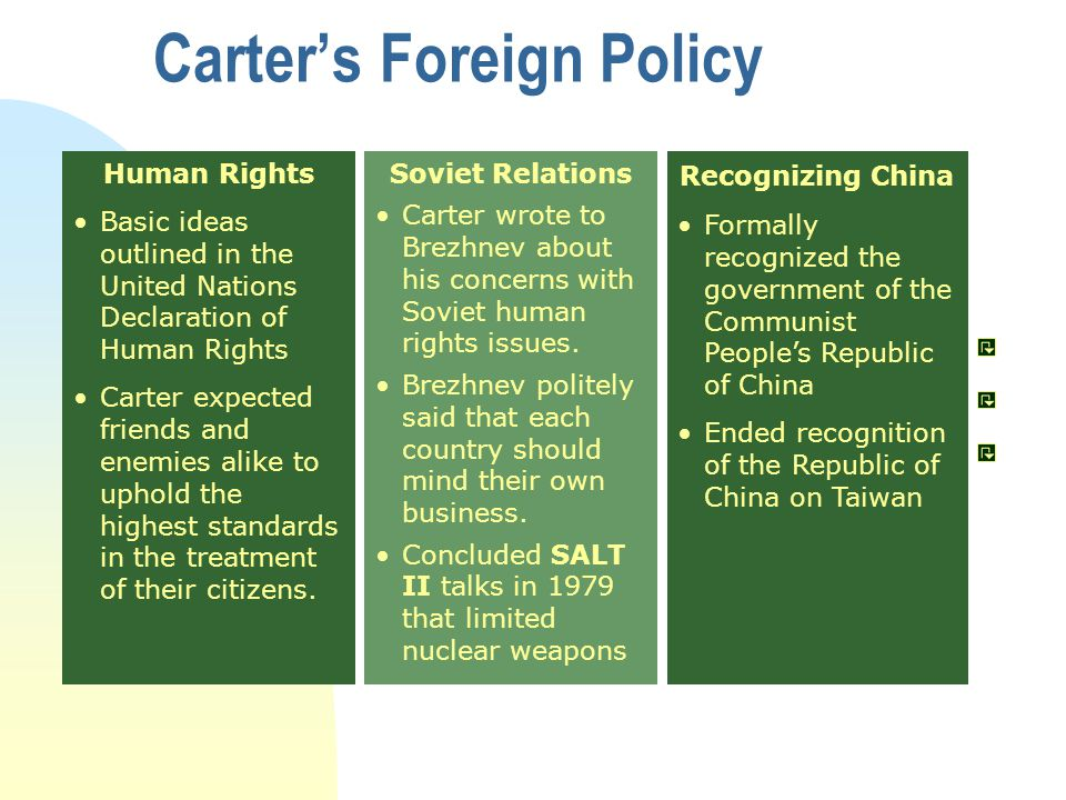 Human Rights Basic ideas outlined in the United Nations Declaration of Human Rights Carter expected friends and enemies alike to uphold the highest standards in the treatment of their citizens.