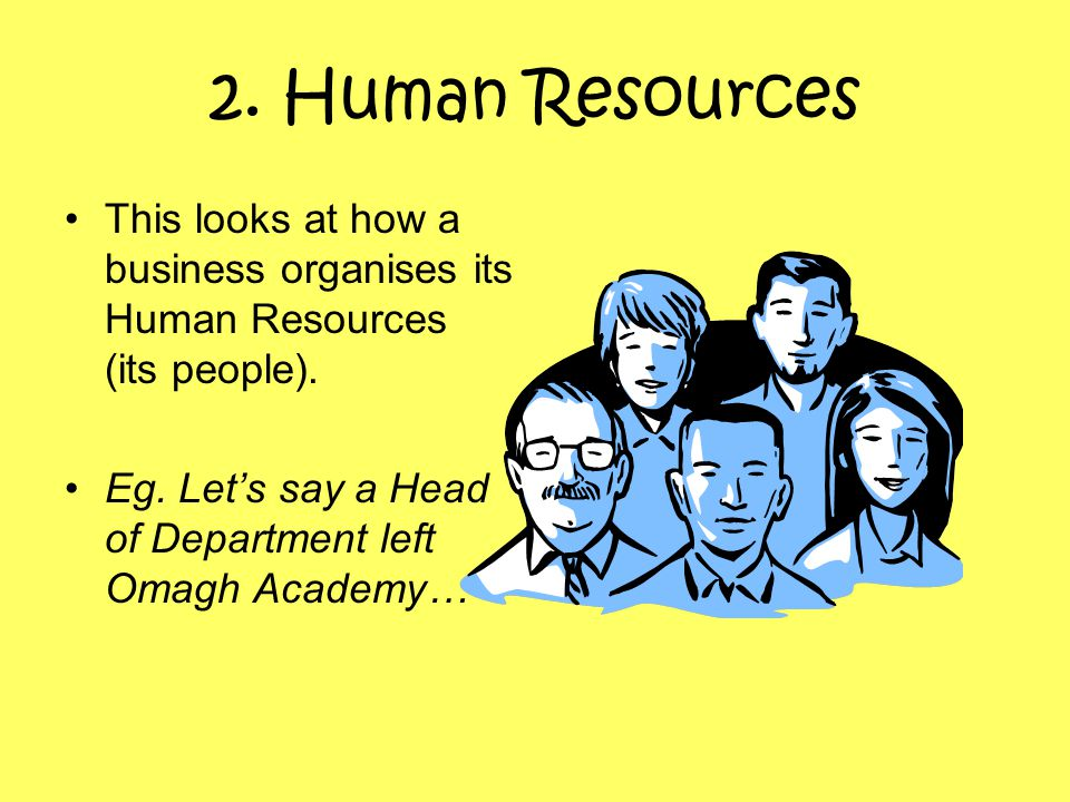 2. Human Resources This looks at how a business organises its Human Resources (its people).