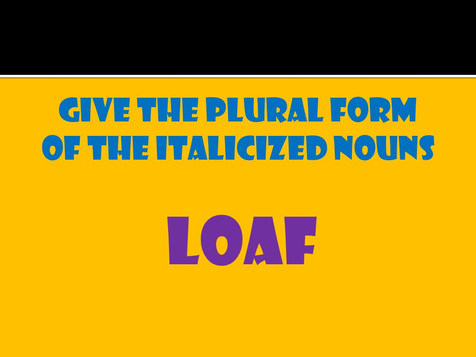 Give the plural form of the italicized nouns loaf