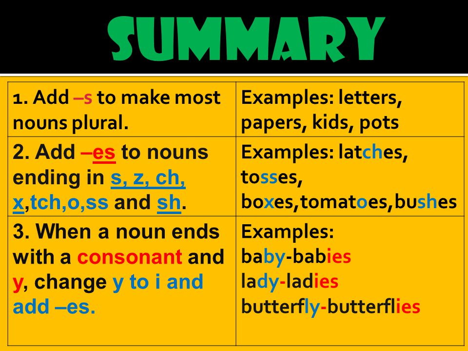SUMMARY 1. Add –s to make most nouns plural. Examples: letters, papers, kids, pots 2.