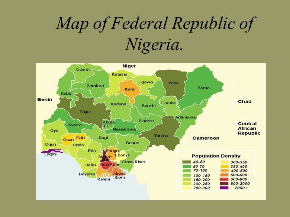 Map of Federal Republic of Nigeria.
