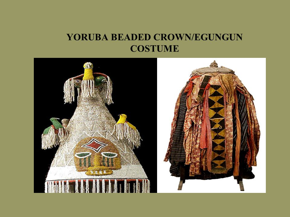 YORUBA BEADED CROWN/EGUNGUN COSTUME
