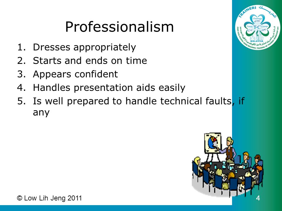 Professionalism 1.Dresses appropriately 2.Starts and ends on time 3.Appears confident 4.Handles presentation aids easily 5.Is well prepared to handle technical faults, if any © Low Lih Jeng 2011 4