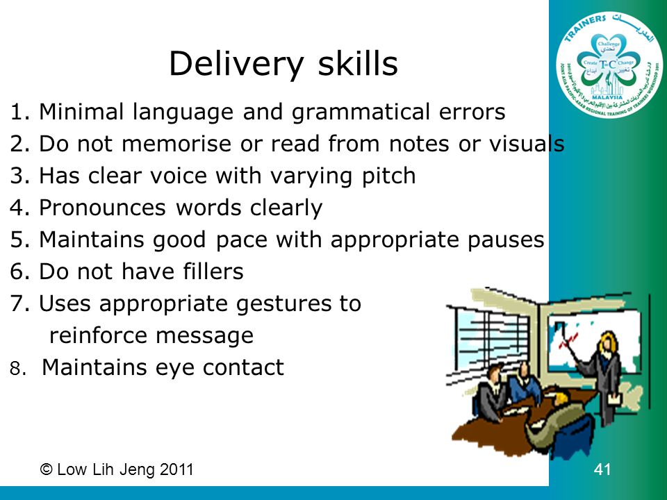 1.Minimal language and grammatical errors 2.Do not memorise or read from notes or visuals 3.Has clear voice with varying pitch 4.Pronounces words clea