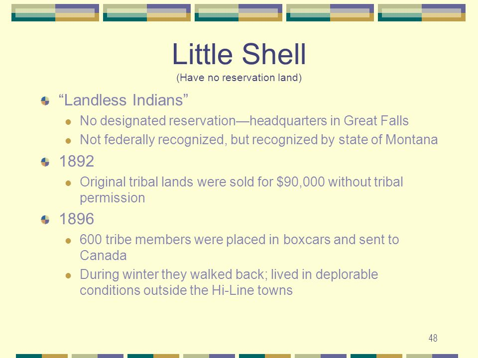 48 Little Shell (Have no reservation land) Landless Indians No designated reservationheadquarters in Great Falls Not federally recognized, but recogni