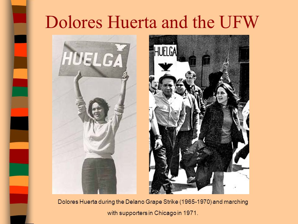 Dolores Huerta and the UFW Dolores Huerta during the Delano Grape Strike (1965-1970) and marching with supporters in Chicago in 1971.