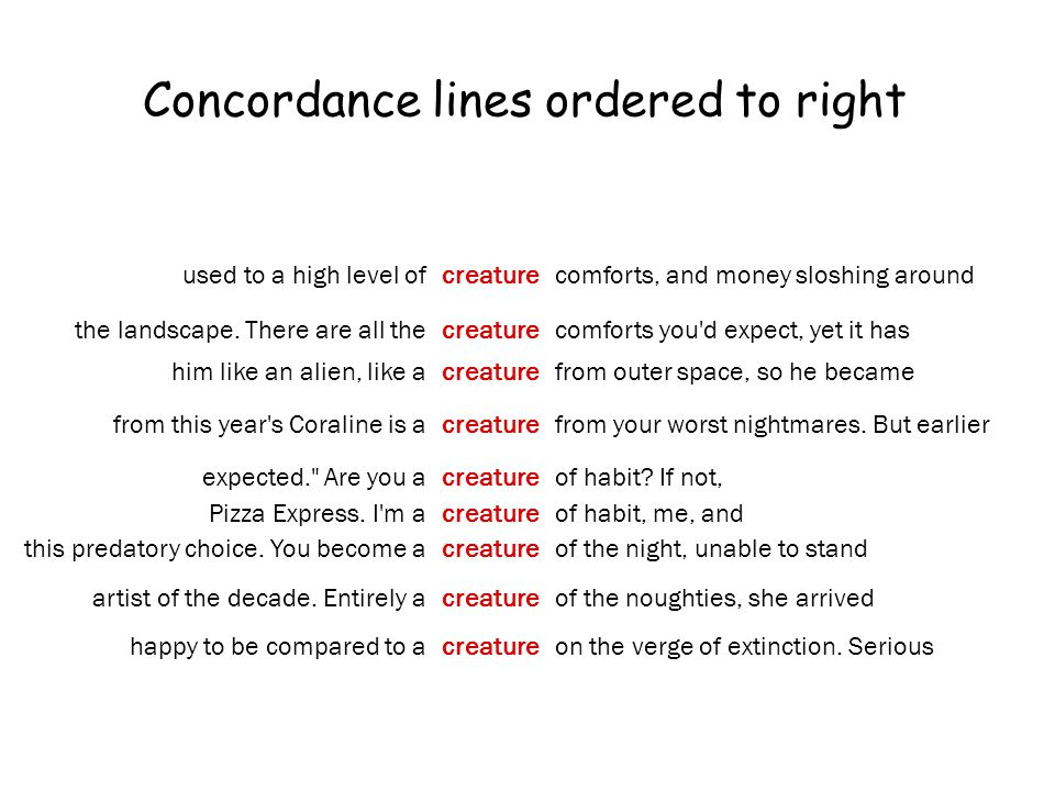 Concordance lines ordered to right used to a high level ofcreaturecomforts, and money sloshing around the landscape.