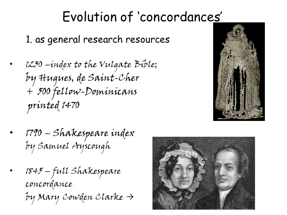 Evolution of concordances 1.