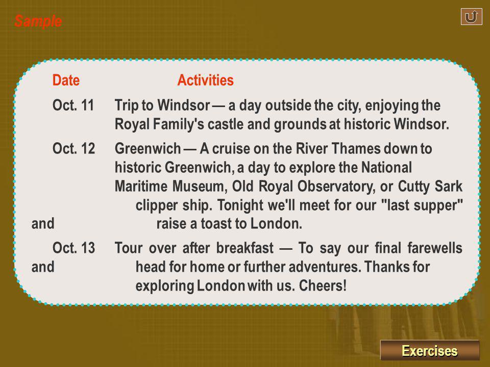 The Best of London DateActivities Oct.