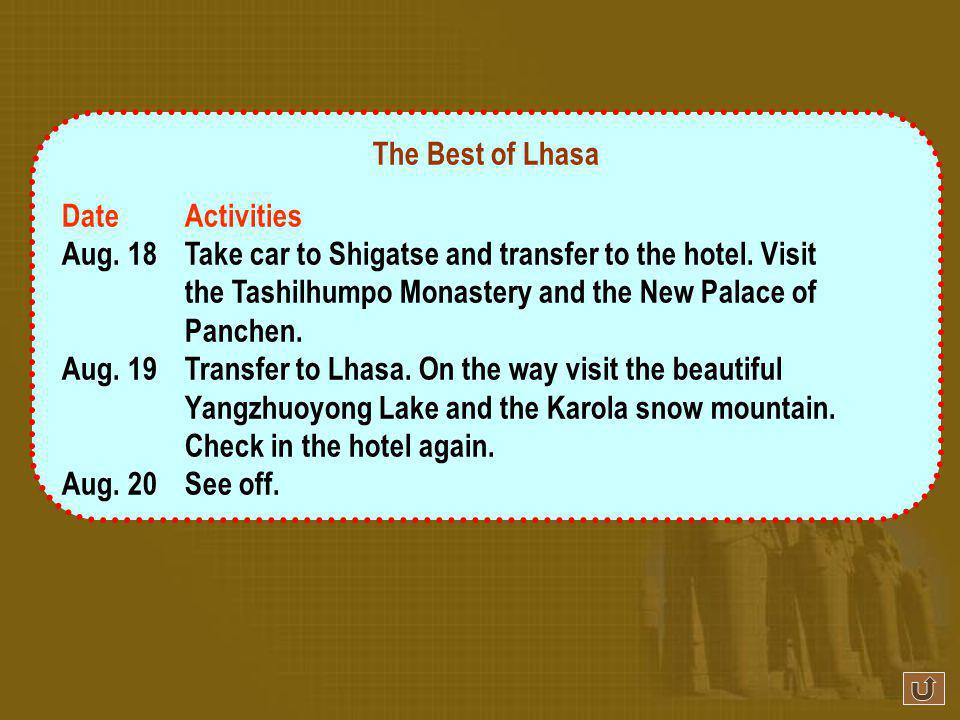 The Best of Lhasa DateActivities Aug.