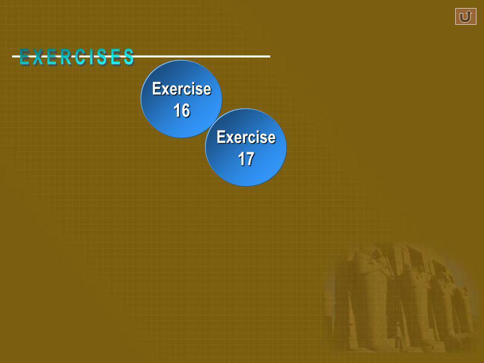 Exercise 16 Exercise 17