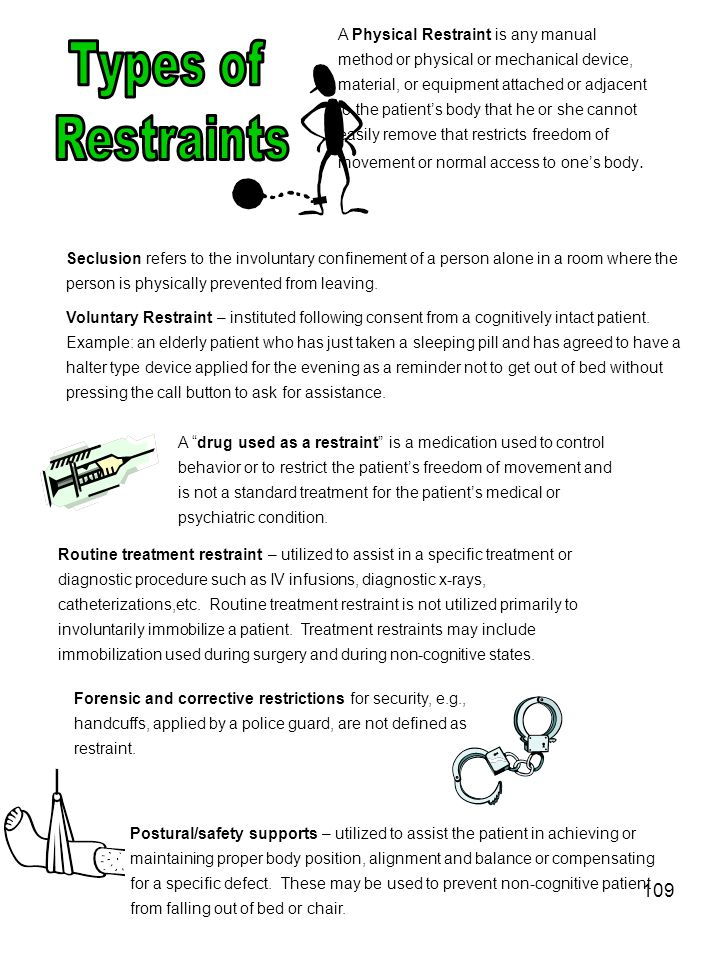 109 A Physical Restraint is any manual method or physical or mechanical device, material, or equipment attached or adjacent to the patients body that