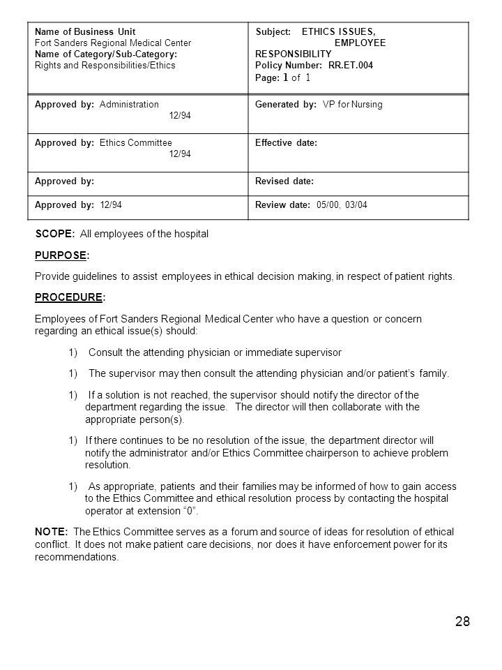 28 Name of Business Unit Fort Sanders Regional Medical Center Name of Category/Sub-Category: Rights and Responsibilities/Ethics Subject: ETHICS ISSUES