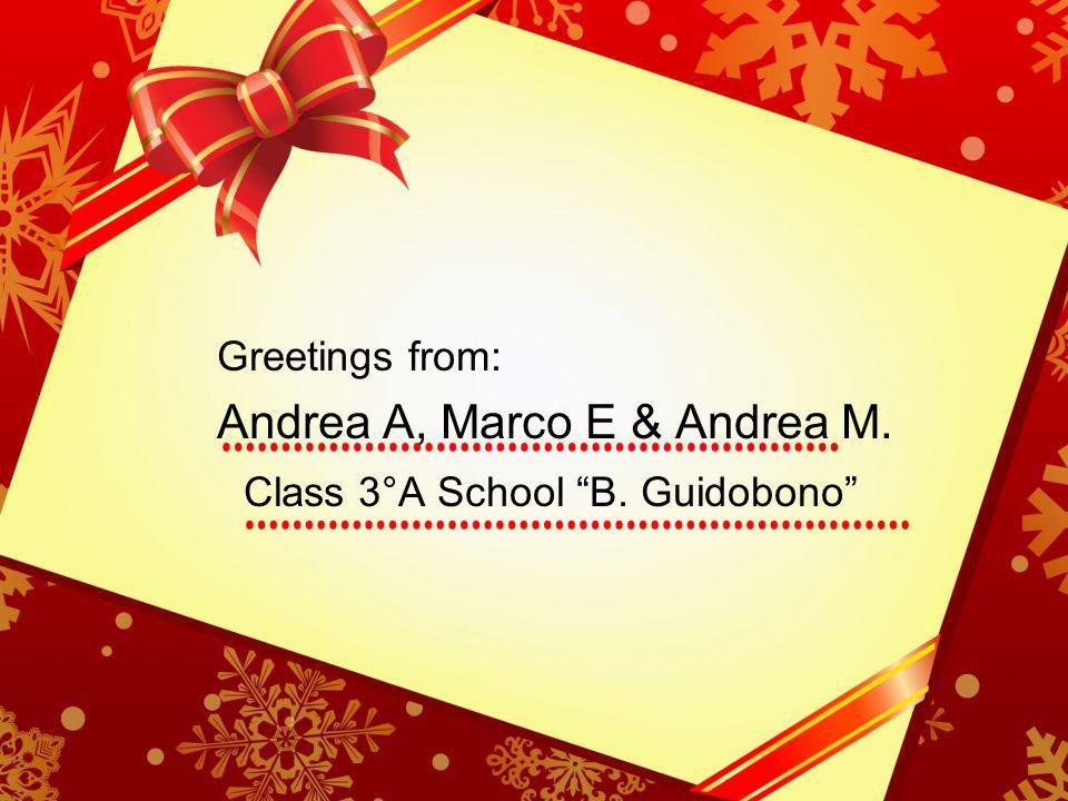 Greetings from: Andrea A, Marco E & Andrea M. Class 3°A School B. Guidobono