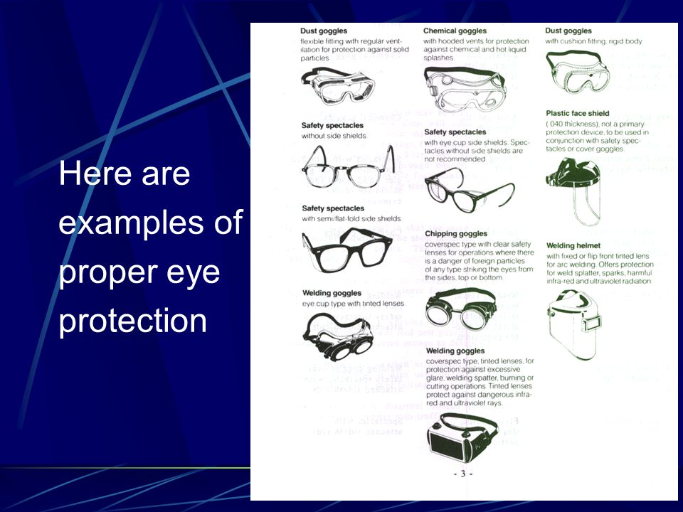 Here are examples of proper eye protection