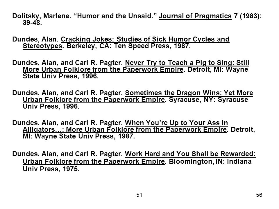 5156 Dolitsky, Marlene. Humor and the Unsaid. Journal of Pragmatics 7 (1983):