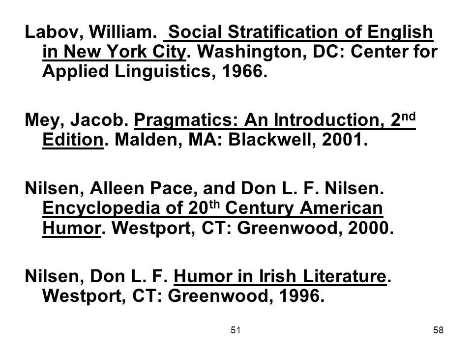 5158 Labov, William. Social Stratification of English in New York City.