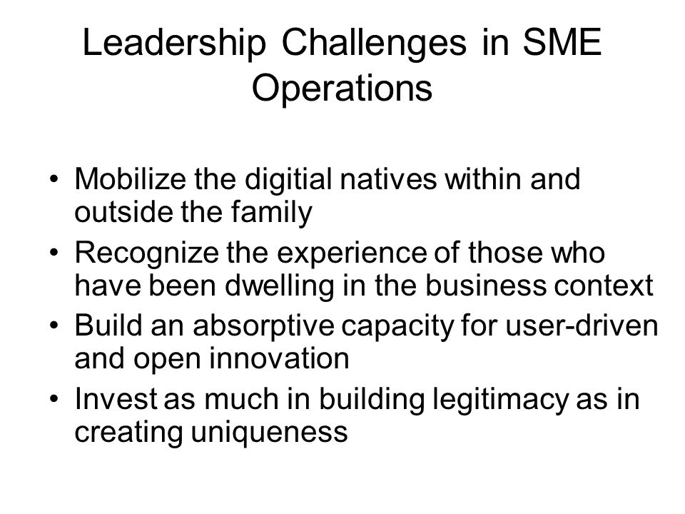 Leadership Challenges in SME Operations Mobilize the digitial natives within and outside the family Recognize the experience of those who have been dw