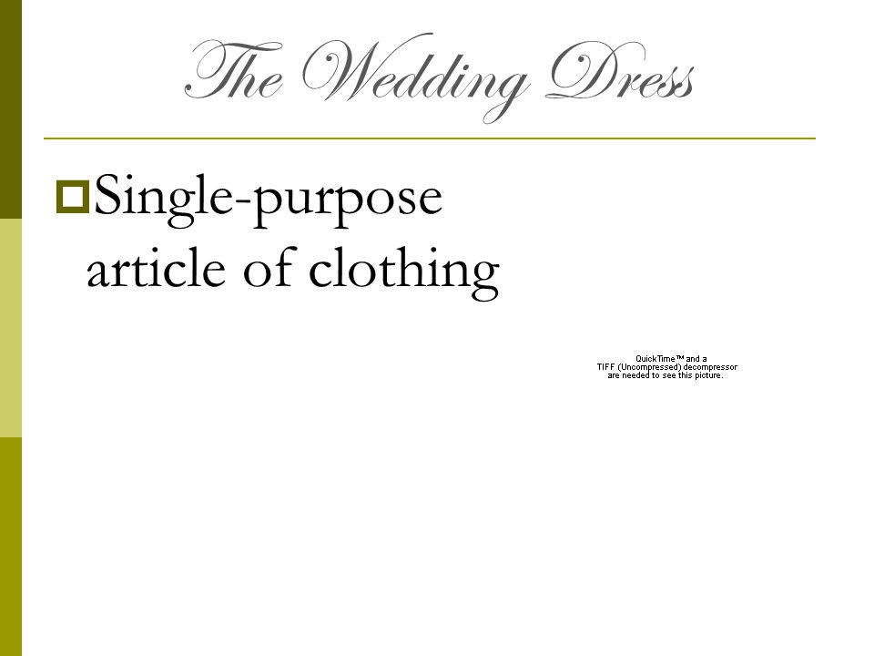 The Wedding Dress Single-purpose article of clothing