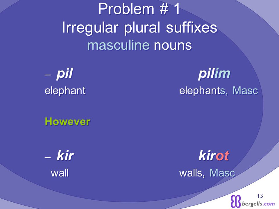 13 Problem # 1 Irregular plural suffixes masculine nouns – pil pilim elephant elephants, Masc However – kir kirot wall walls, Masc – pil pilim elephant elephants, Masc However – kir kirot wall walls, Masc