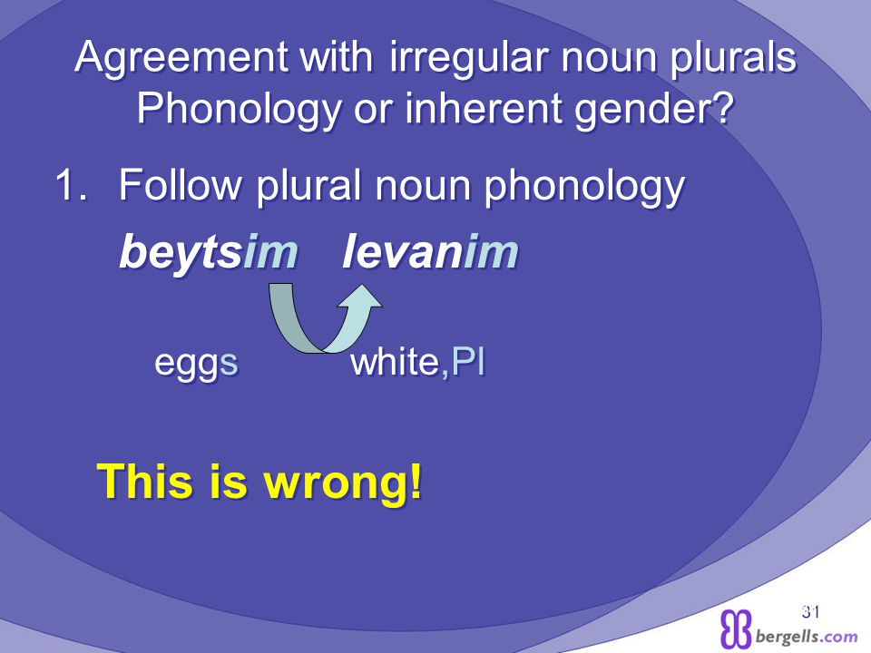 31 Agreement with irregular noun plurals Phonology or inherent gender.