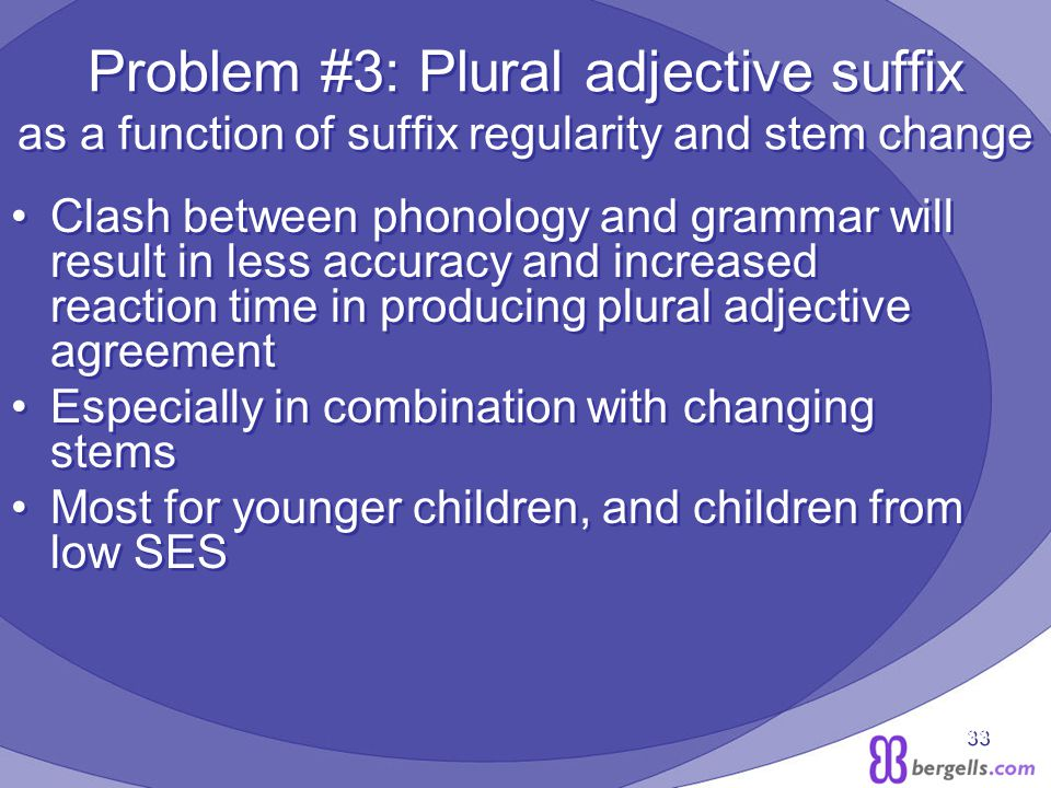 33 Problem #3: Plural adjective suffix as a function of suffix regularity and stem change Clash between phonology and grammar will result in less accuracy and increased reaction time in producing plural adjective agreement Especially in combination with changing stems Most for younger children, and children from low SES Clash between phonology and grammar will result in less accuracy and increased reaction time in producing plural adjective agreement Especially in combination with changing stems Most for younger children, and children from low SES