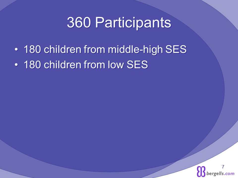 7 360 Participants 180 children from middle-high SES 180 children from low SES 180 children from middle-high SES 180 children from low SES