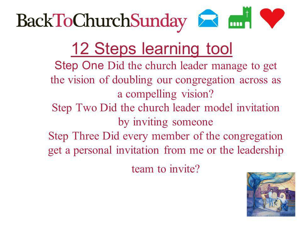 12 Steps learning tool Step One Did the church leader manage to get the vision of doubling our congregation across as a compelling vision.