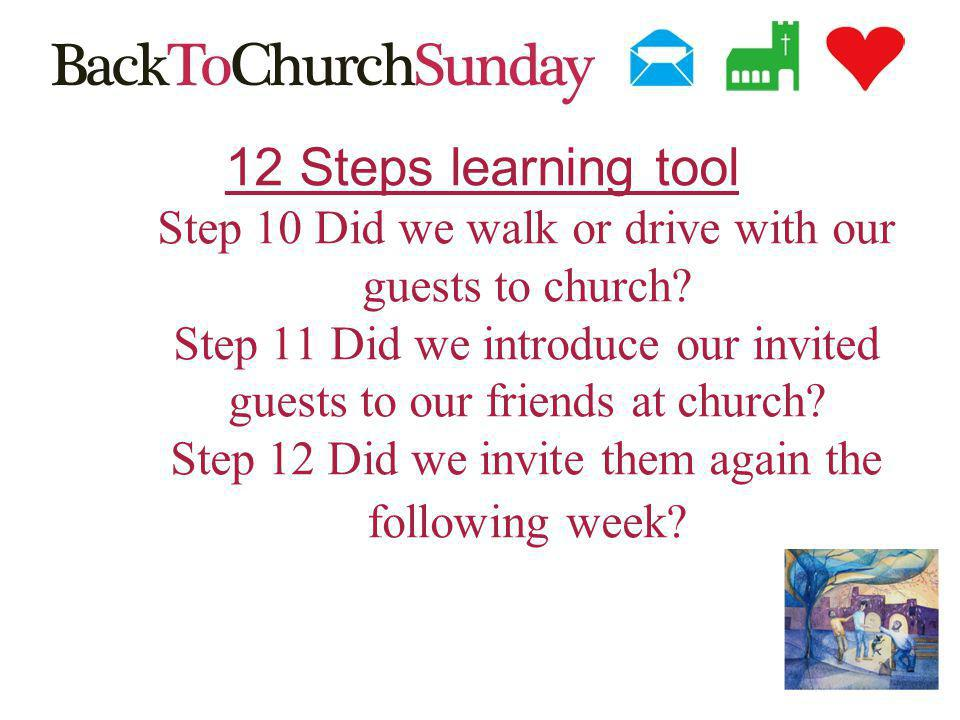 12 Steps learning tool Step 10 Did we walk or drive with our guests to church.