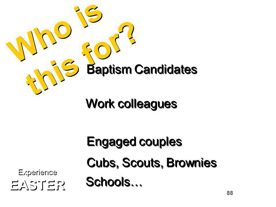 88 Who is this for? Baptism Candidates Work colleagues Engaged couples Cubs, Scouts, Brownies Schools… Experience EASTER Experience EASTER