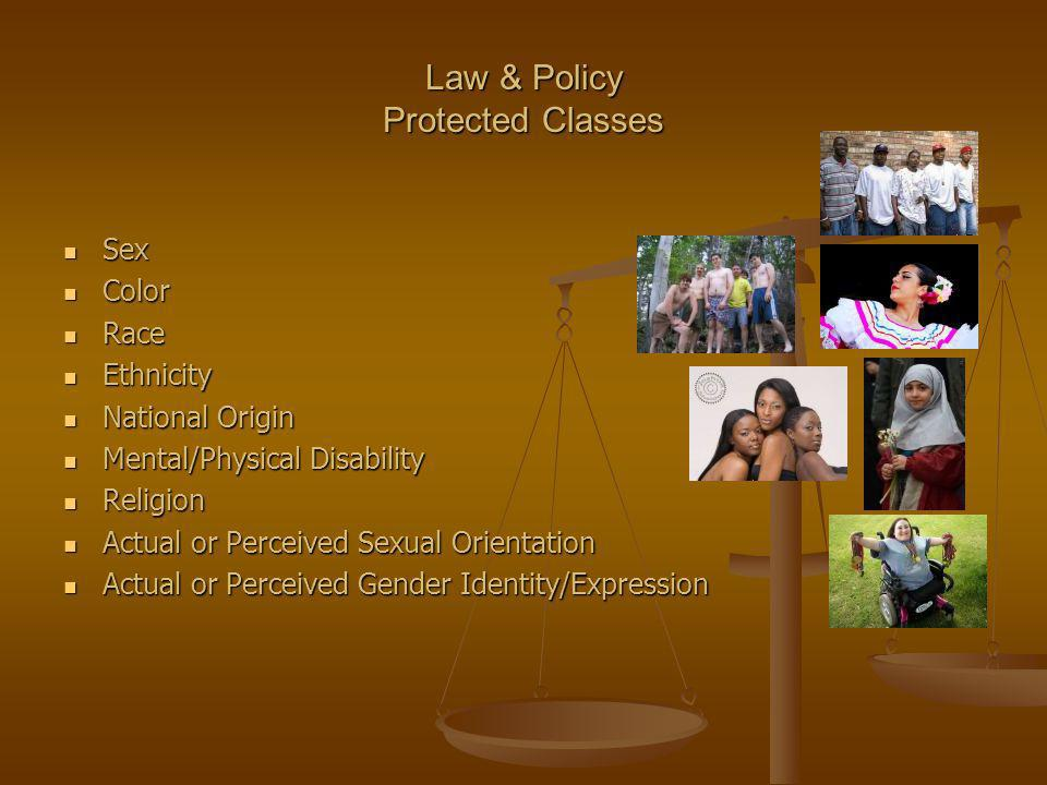 Law & Policy Protected Classes Sex Sex Color Color Race Race Ethnicity Ethnicity National Origin National Origin Mental/Physical Disability Mental/Phy