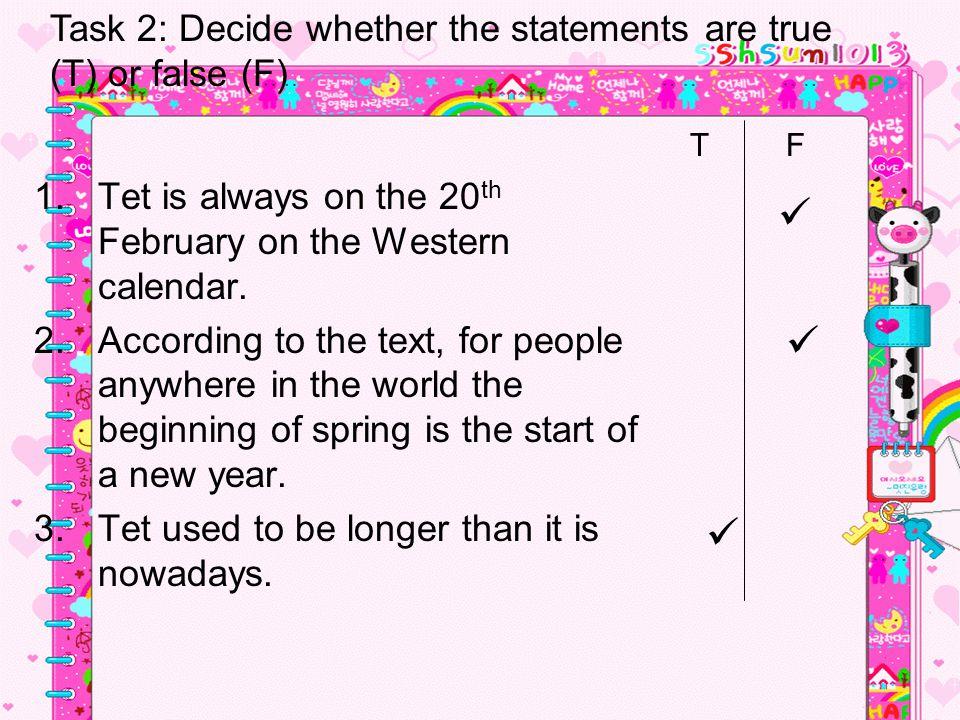1.Tet is always on the 20 th February on the Western calendar.