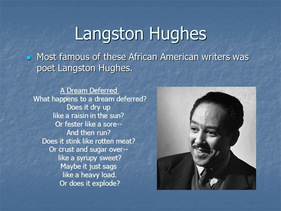 Langston Hughes Most famous of these African American writers was poet Langston Hughes. Most famous of these African American writers was poet Langsto