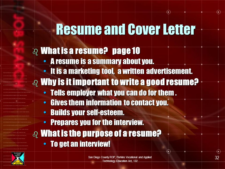 San Diego County ROP, Perkins Vocational and Applied Technology Education Act, 132 31 Module #3 Resume and Cover Letter