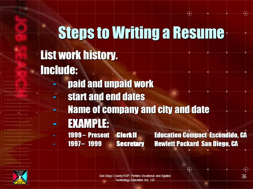San Diego County ROP, Perkins Vocational and Applied Technology Education Act, 132 35 Steps to Writing a Resume List educational experience.