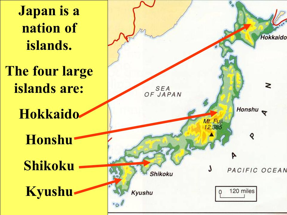 Japan is a nation of islands. The four large islands are: Hokkaido Honshu Shikoku Kyushu