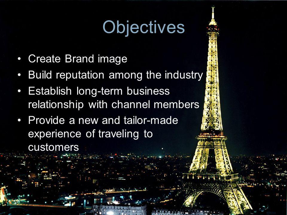 Objectives Create Brand image Build reputation among the industry Establish long-term business relationship with channel members Provide a new and tai